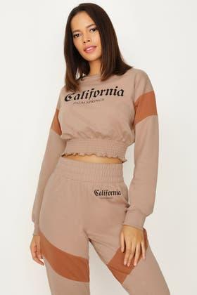 ALMOND CALIFORNIA SHIRRED HEM CROP SWEAT