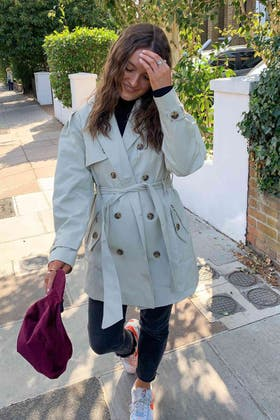 ALMOND GOLD BUTTON TRENCH COAT