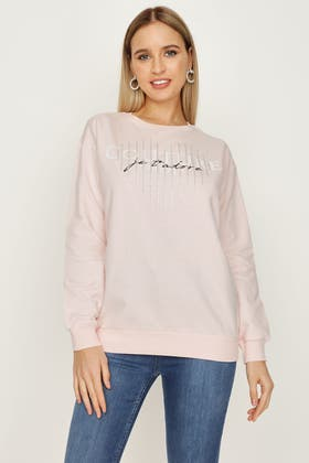 ANGEL PINK COUTURE HEART DIAMANTE SWEAT