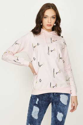 ANGEL PINK LOVE ALL OVER TEXT HOODIE