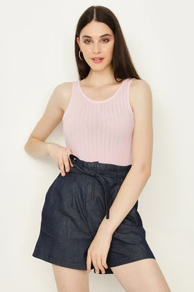 ANGEL PINK RIBBED LOW BACK BODY
