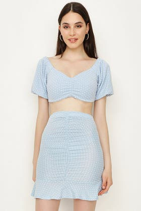 BABY BLUE POLKA DOT RUCHED FRONT PUFF SLEEVE CO-ORD TOP
