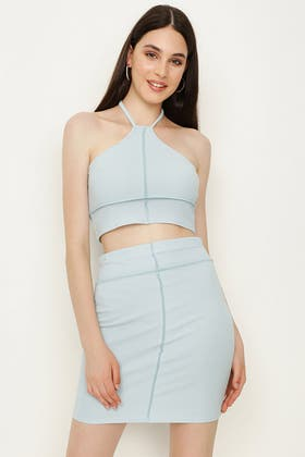 BABY BLUE RIBBED EXPOSED SEAM HALTER NECK CO-ORD