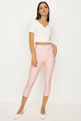 BABY PINK GINGHAM ZIP FRONT ANKLE GRAZER