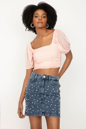 BABY PINK RUCHED MESH PUFF SLEEVE TOP