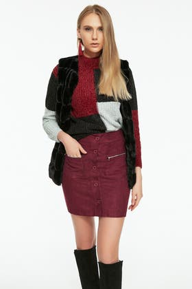 BERRY BUTTON DOWN SUEDE MINI SKIRT