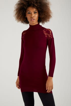 BERRY LACE DETAIL ROLLNECK TUNIC