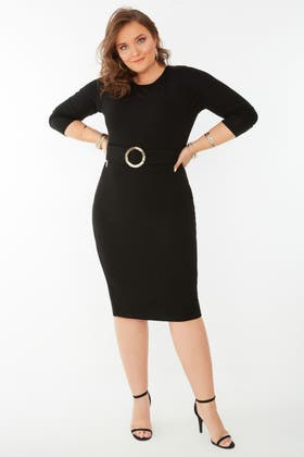 BLACK ANIMAL BUCKLE BELTED BODYCON DRESS