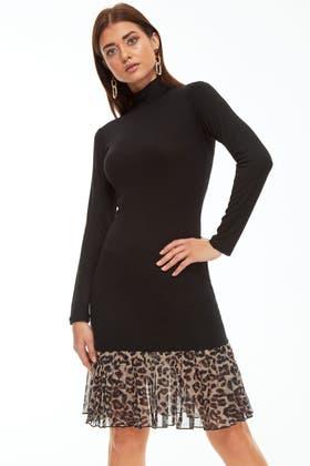 BLACK ANIMAL PEPLUM HEM BODYCON DRESS