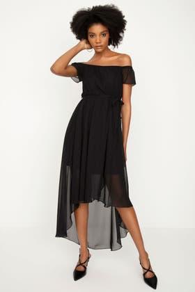 BLACK BARDOT CHIFFON DIPHEM MAXI DRESS
