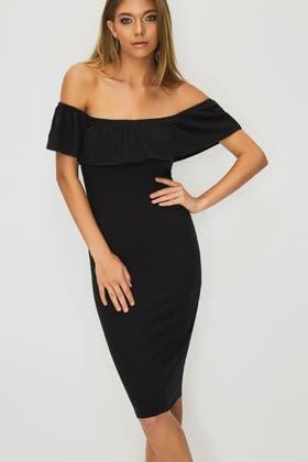 BLACK BARDOT FRILL RIB DRESS