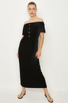 BLACK BARDOT HORN BUTTON BELTED MAXI DRESS