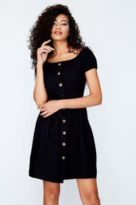 BLACK BARDOT LINEN HORN BUTTON DRESS