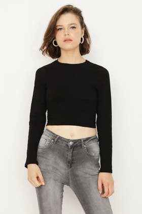 BLACK BASIC FITTED CROP LONG SLEEVE