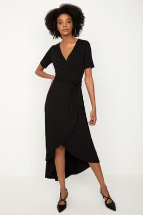 BLACK BELT DETAIL DIPHEM MAXI DRESS
