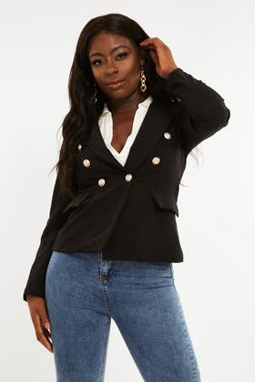 BLACK Blazer with gold button and faux pockets
