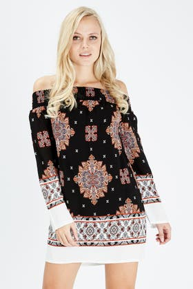 BLACK BORDER PAISLEY BARDOT DRESS