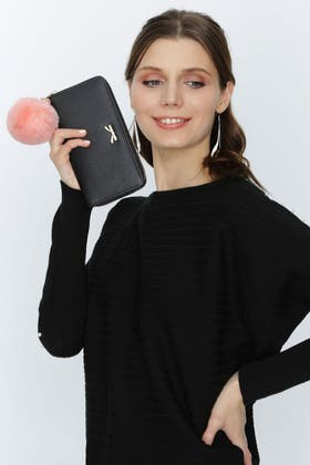 BLACK BOW LARGE PURSE WITH POM