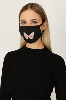 BLACK BUTTERFLY EMBROIDERED FASHION FACE COVERING