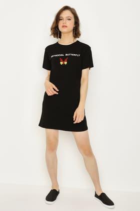 BLACK BUTTERFLY SLOGAN T-SHIRT DRESS