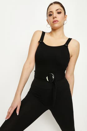 BLACK BUTTON BELTED BODY