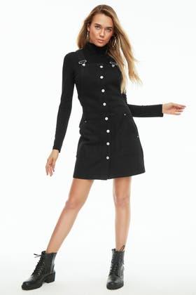BLACK BUTTON THROUGH PINAFORE DRESS