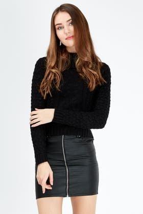 BLACK CABLE ROLL NECK JUMPER