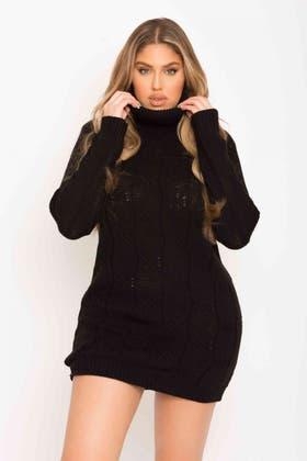 BLACK CABLE ROLLNECK TUNIC