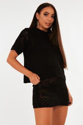 BLACK Chevron Stich Jumper and Skirt Set