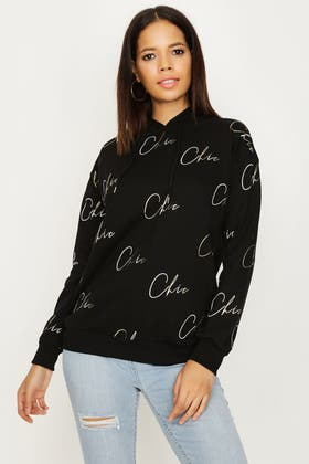 BLACK CHIC ALL OVER TEXT HOODIE