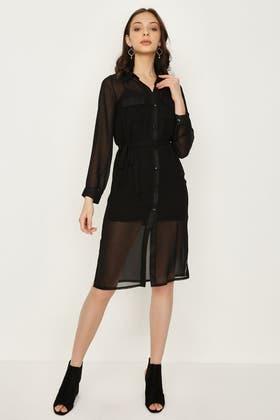 BLACK CHIFFON BELTED SHIRT DRESS