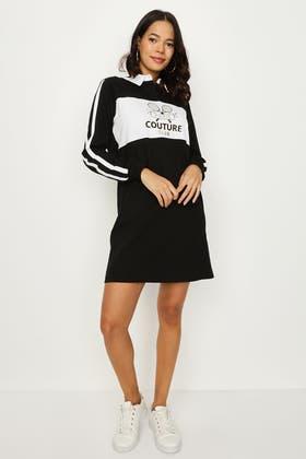 BLACK COLLAR NECK PRINTED SWEAT DRESS