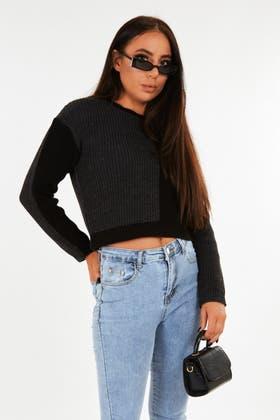 BLACK Colour Block Crop jumper