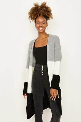 BLACK colour Block Maxi Cardigan