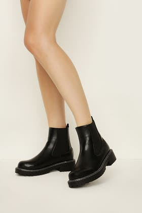 BLACK CONTRAST STITCH CHELSEA ANKLE BOOT