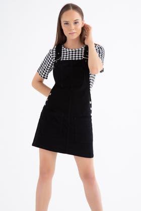 BLACK CORD PINAFORE DRESS