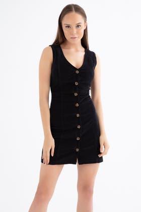 BLACK CORD SLEEVELESS BUTTON DRESS