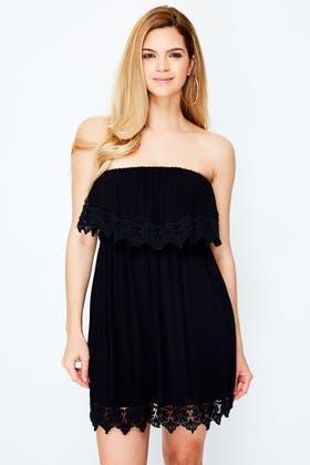 BLACK CROCHET TRIM BARDOT DRESS