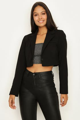 BLACK CROP BUTTON FRONT TAILORED JACKET