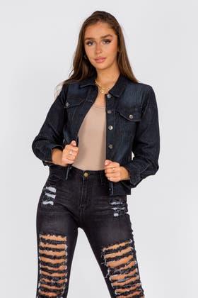 BLACK Crop Denim Jacket