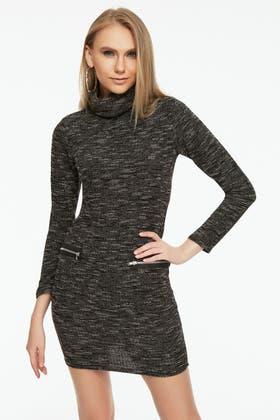 BLACK CUT&SEW COWL NECK BODYCON DRESS