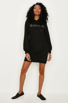 BLACK DIAMANTE HOODIE DRESS