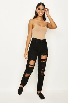 BLACK Dirty Wash Distressed Mom Jeans
