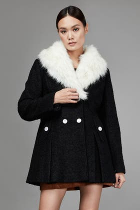 BLACK DOUBLE BREASTED BOUCLE FORMAL COAT