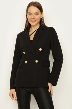 BLACK DOUBLE BREASTED GOLD BUTTON JACKET