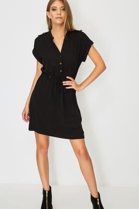 BLACK DRAWSTRING BUTTON DETAIL DRESS