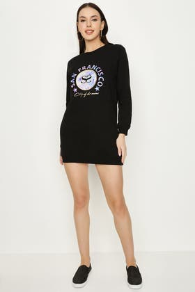 BLACK EMBOSSED PRINT SWEAT DRESS
