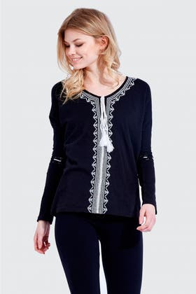 BLACK EMBROIDERED TASSEL GYPSY TOP