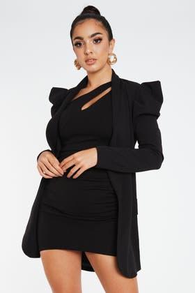 BLACK Exaggerated Shoulder Blazer Jacket