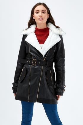 BLACK FUR LINED PU TRENCH